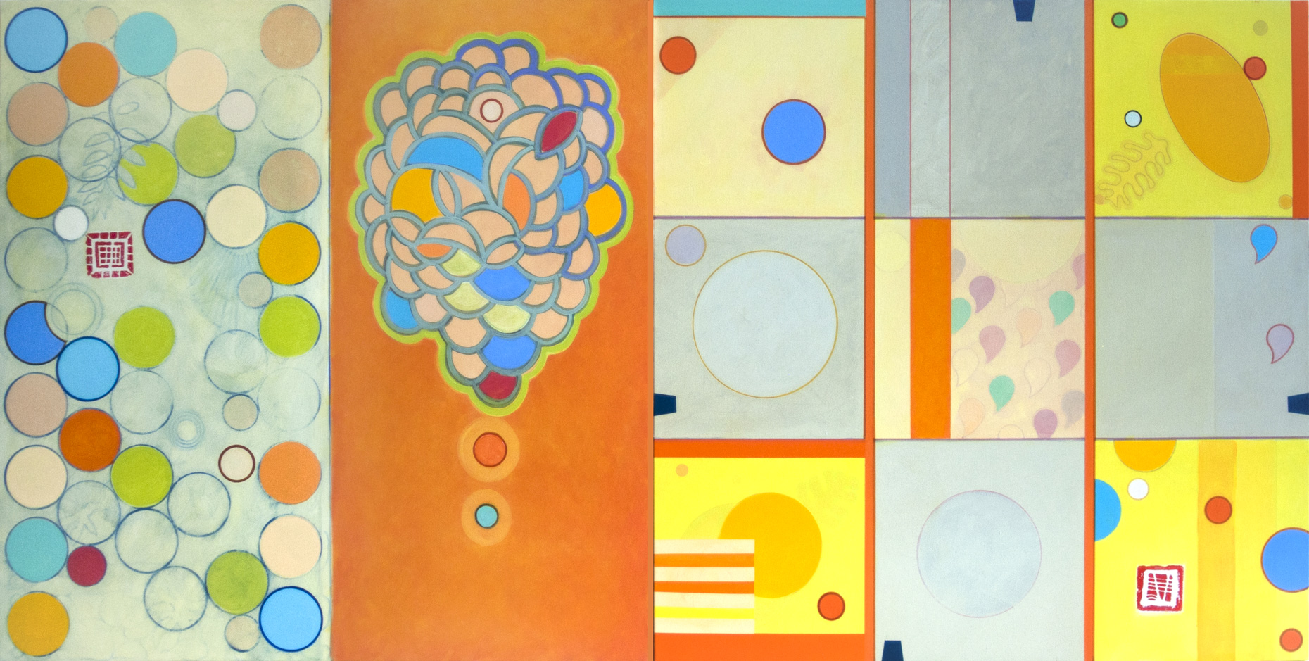 "DIAGRAMMING THE EVENTS, 38"" x 76"", acrylic on Lanaquarelle paper, 2014"