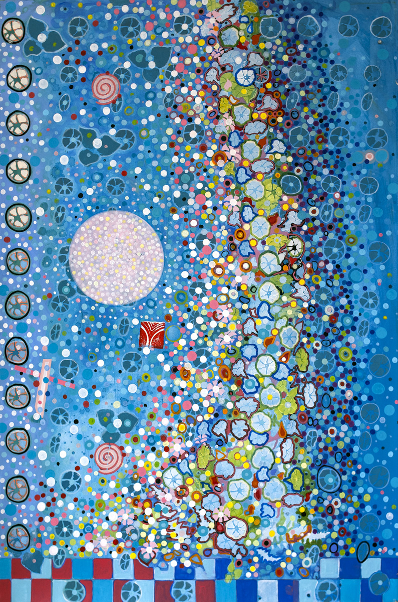 "ENCHANTED NIGHT acrylic on 300 lb. Lanaquarelle 41"" x 60"" 2014"