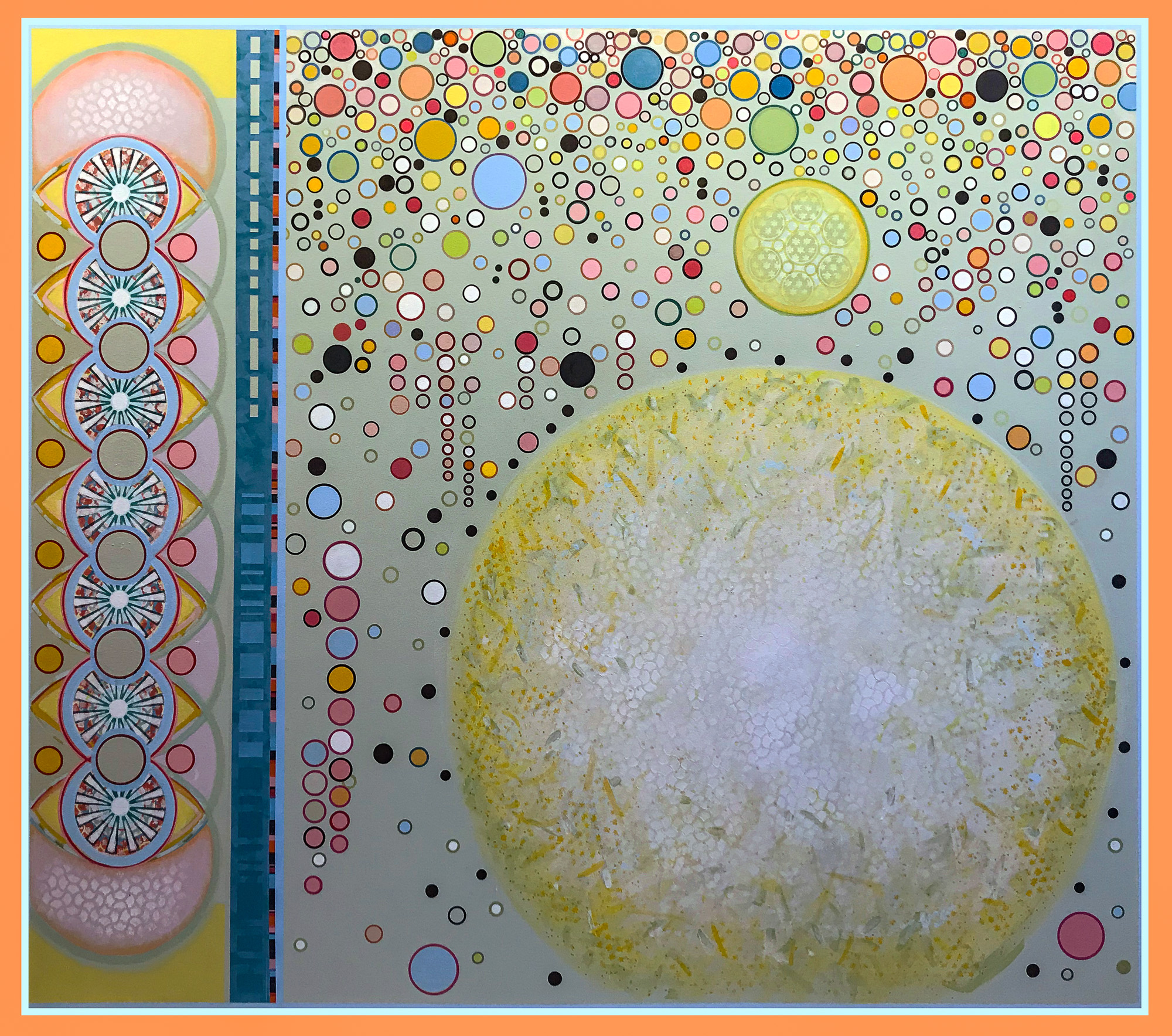 "DISCUSSION WITH THE SUN, 2020, 72""x 82"", acrylic on canvas"