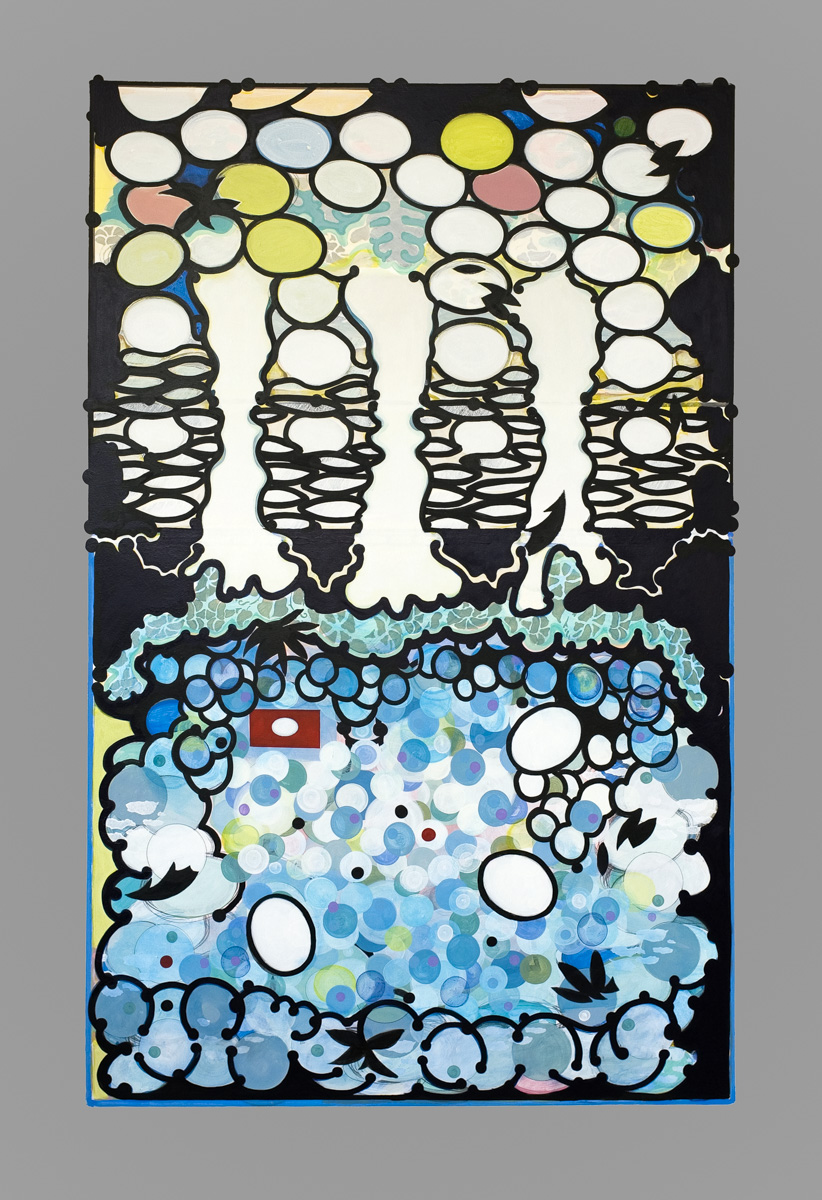 "FOREST TALE acrylic on 300 lb. Lanaquarelle 41"" x 60"" 2013"