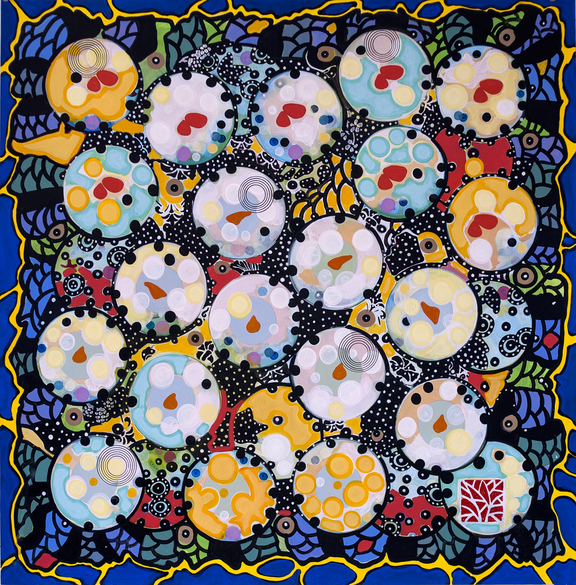 "DREAMERS QUILT (CROSSECTION SERIES) acrylic on 300 lb. Lanaquarelle 36""x36"" 2012"