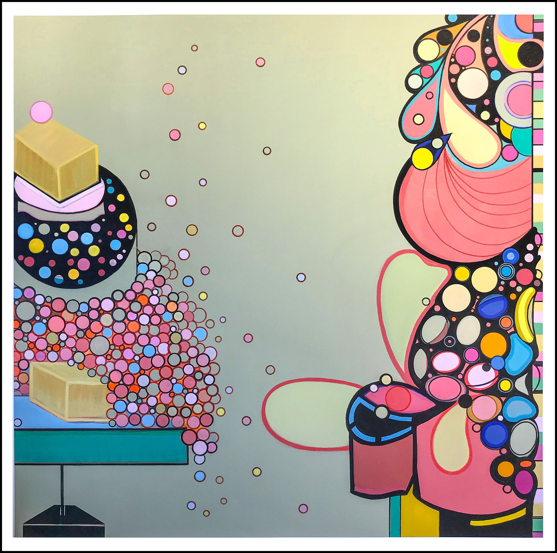 "THE ICING ON THE CAKE & OTHER STORIES, acrylic on canvas, 60""x 60"", 2018"
